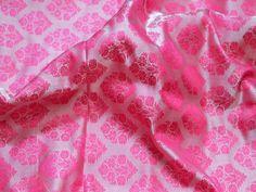 Pink Indian Jacquard Brocade Wedding Dress Fabric By Yard | Etsy