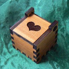 Heart Cedar Self Hinged Ring Box