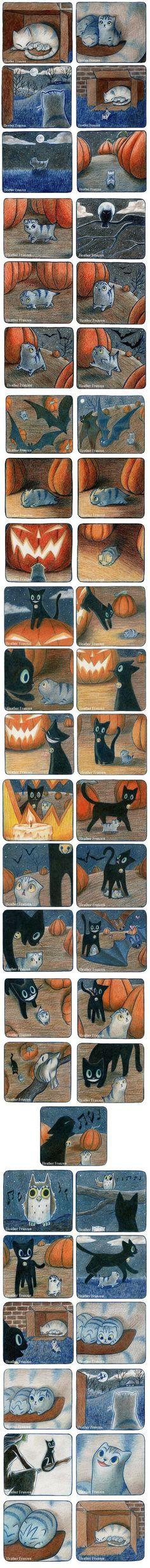Petite histoire avec un chaton et un chat noir sur le thème d'Halloween. Small story with kitten and a black cat, on the theme of Halloween. so cute ! Animals And Pets, Funny Animals, Cute Animals, Crazy Cat Lady, Crazy Cats, The Meta Picture, Cute Stories, Short Stories, Cute Comics