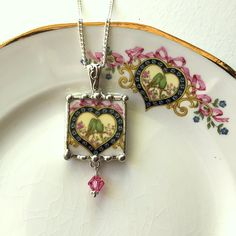 Lovebirds Parakeets Budgies in heart broken china jewelry pendant necklace with crystal drop