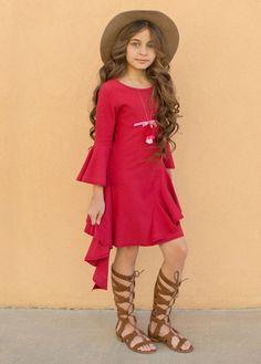 Milly Dress in Red - Jeune Fille Cute Girl Outfits, Hot Outfits, Little Girl Dresses, Girls Dresses, Baby Dress, Dress Up, Bohemian Kids, Mini Diva, Divas