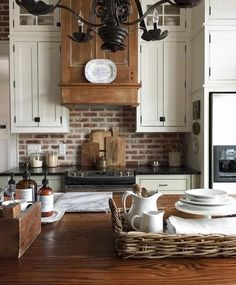 Uplifting Kitchen Remodeling Choosing Your New Kitchen Cabinets Ideas. Delightful Kitchen Remodeling Choosing Your New Kitchen Cabinets Ideas. Kitchen Redo, New Kitchen, Kitchen Dining, Kitchen White, Kitchen Rustic, Kitchen Island, Brick Wall In Kitchen, Cream And Wood Kitchen, Exposed Brick Kitchen