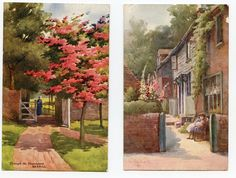 2 Postcards of Bexhill East Sussex from Colour Drawing By Florence Hoare c1914