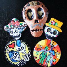 Sugar Skull art magnets - Bones Nelson on Etsy.