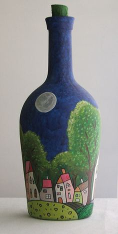 botellas pintadas a mano - Buscar con Google