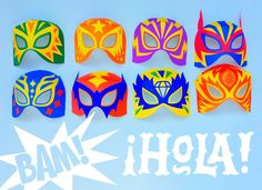 12 printable Lucha Libre mask cutouts. Clear photo instructions. Be a real Mexican wrestler! 12 great mask ideas to do at home with matching Luchador cuffs.