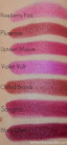 Let them have Polish!: LTHP Quickies! Milani Color Statement Lipsticks in Plums & Berries- Swatches