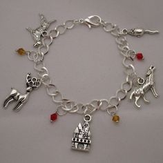 SALE! Harry Potter The Four Marauders at Hogwarts Moony Wormtail... ($14) ❤ liked on Polyvore featuring jewelry, bracelets, charm bracelet, antique silver charm bracelet, chain link jewelry, antique silver jewellery and antique silver jewelry