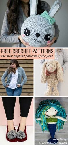 You're sure to find your next project in this collection of the most popular free crochet patterns from some of my favorite crochet blogs and designers! Sweaters, afghans, amigurumi toys and more! via @makeanddocrew #crochet #freecrochetpattern