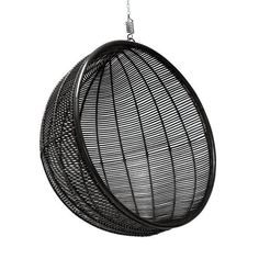 HK-Living Rattan hanging chair ball black 108x108x83 cm