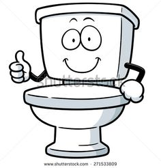 Vector Illustration of Cartoon toilet - stock vector