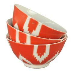 Ikat Bowl in Orange - Set of 3