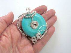 Handmade Wire Wrapped Silver and Turquoise Pendant Uniquely Designed | GildedOwlJewelry - Jewelry on ArtFire @gildedowl