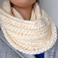 Sweet Cream Infinity Scarf | Free Crochet Pattern | Cowl | Cute and Cozy Crochet | I Love This Chunky | Hobby Lobby Yarn | Sand Frost | Beautiful Scarf | Easy Pattern | Beginner