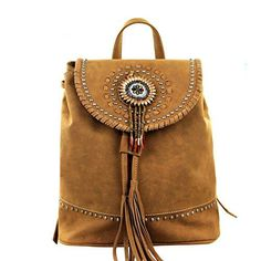 Montana West Ladies Vegan Leather Backpack Daisy Concho Beaded Tassel Black
