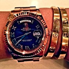 Rolex President Combined with Cartier Bracelets for a Great Look!  https://instagram.com/charlfourie12/
