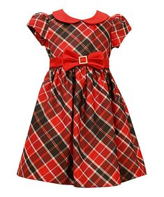 Look at this Red & Black Peter Pan Bow Dress - Toddler & Girls on #zulily today!