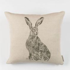 Sitting Hare Sketch Cushion - Milton & Manor - A Farmhouse Creation Farmhouse Renovation, Fabulous Fabrics, Seat Covers, Soft Furnishings, Hare, Cottage Style, Presents, Cushions, Throw Pillows