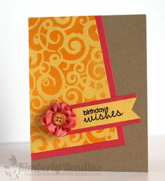Kimplete Kreativity: Birthday card - stenciled card - ribbon flower