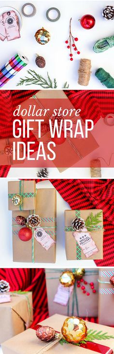 Make your Christmas gifts look super fancy with these DIY gift wrap ideas (using supplies from the dollar store!) These gift topper ideas are sophisticated, festive and cheap! Click to see full tutorial. | MakeAndDoCrew.com