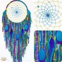Le paon grand Style Native tissés à la main Dream Catcher par eenk