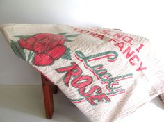 Large Vintage Muslin Rice Sack Bag Lucky by RollingHillsVintage