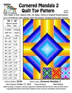 (7) Name: 'Quilting : 0144 Cornered Mandala 2 Quilt Pattern
