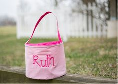 Monogrammable Gingham Easter Basket Tote - PINK Embroidery Blanks, Embroidery Software, Easter Buckets, Halloween Buckets, Gingham, Reusable Tote Bags, Basket, Monogram, Handmade Gifts