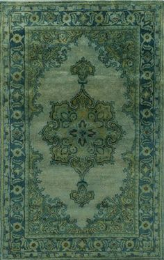Dramatic and elegant emerald/moss overdyed wool rug from Surya (MYK-5009).