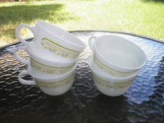 Pyrex Sunshine Summer Impressions Tea Cups Set of by OldSowellShop