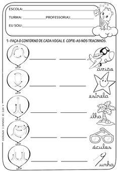 Atividades com leitura escrita de vogais cursivas maiúsculas e minúsculas