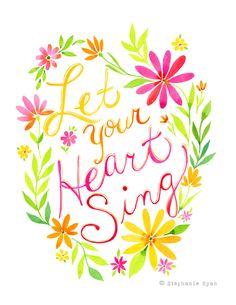 Deja que tu corazón canta Art Print por stephanieryanart en Etsy