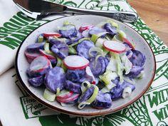 Makacska konyhája: Lila krumpli saláta Cabbage, Vegetables, Food, Essen, Cabbages, Vegetable Recipes, Meals, Yemek, Brussels Sprouts