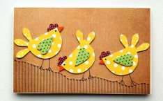 Cold Porcelain Ornaments, Paper Punch Art, Chicken Quilt, Chicken Crafts, Fabric Cards, Paint Cards, Bird Cards, Handmade Birthday Cards, Cute Crafts