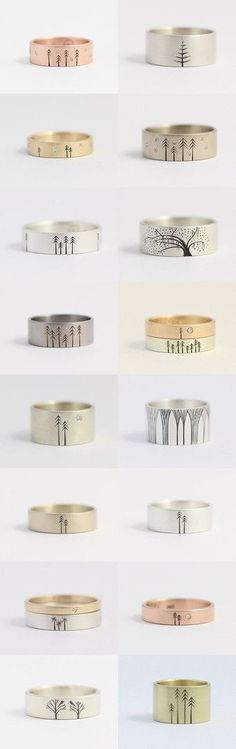 Tree Wedding and Engagement Rings by Ash Hilton by Ash and Laurel on Etsy--Pinned with http://TreasuryPin.com