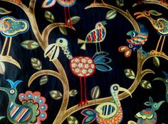Crazy Ol Bird Fabric  Upholstery Fabric By The by ShopMyFabrics