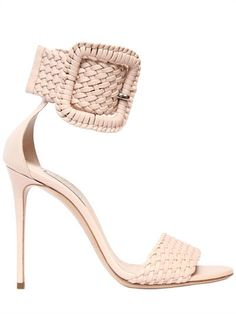 01526bc0be4d9 CASADEI, 100mm buckled woven leather sandals, Blush, Luisaviaroma - 100mm  Leather covered heel. Adjustable buckle ankle strap . Leather sole