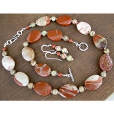 SALE 30 OFF, Red Jasper Necklace, Bracelet Earrings, Semi Precious Gem... ($80) ❤ liked on Polyvore featuring jewelry, red stone jewelry, gem stone jewelry, gemstone jewelry, semi precious gemstone jewellery and semiprecious stone jewelry