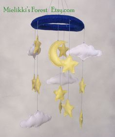 Felt baby crib mobile with stars clouds and by MielikkisForest