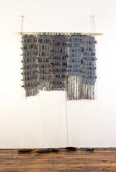 """Amy 2, Bobbins and handwoven fabric, 36x48"""", 2013."""
