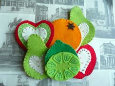 felt crafts to sell | Felt fruit needle or pin book - apple, pear, lime, orange available