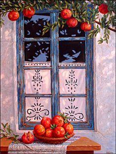 greek window by bernice Art History Major, Pomegranate Art, Decoupage, Greek Culture, Grenade, Greek Art, Through The Window, Art For Art Sake, Flower Boxes