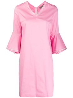 Pink cotton ruffled sleeve dress from D.EXTERIOR featuring shift style, round neck, three-quarter length sleeves and straight hem. Ruffle Sleeve Dress, Pink Dress, Cold Shoulder Dress, Women Wear, Dresses With Sleeves, Exterior, Cotton, Fashion Design, Clothes