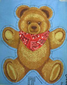 Vtg Hallmark Bear Necessities 2 Teddy Bear Fabric Panel Stitch & Stuff Toy #WamsuttaHallmark