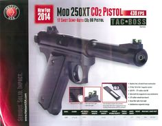 SHOT Show 2014 preview - Hatsan 250XT CO2 BB gun. It t looks just like a Ruger Mark II pistol, it even has a disassembly lever on the backstrap the same as a Ruger;