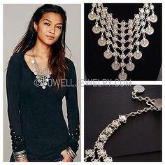 Free-People-Jewelry-flower-chain-Silver-Boho-Necklace-Bohemian-Jewelry-N113 $49