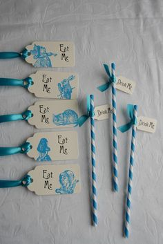 ALICE IN WONDERLAND tags and straws  Idea only, link goes to ebay.