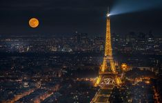 Wallpaper lights, the moon, France, Paris, panorama, Eiffel