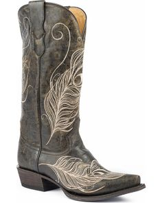 Roper Women's Black Feather Embroidered Boots - Snip Toe , Black, hi-res Western Boots, Cowboy Boots, Western Wear, Cowgirl Hats, Bota Country, Wedding Boots, Baby Boots, Black Feathers, High Heels Stilettos