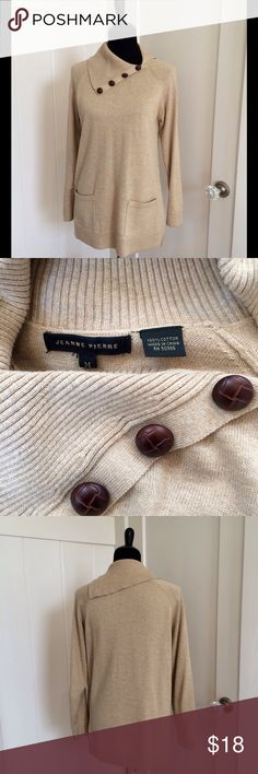 """Classic 100% Cotton Sweater Size Medium This is another well done sweater by Jeanne Pierre in gorgeous condition. The sweater is super soft because it is 100% Cotton. Buttons resemble leather. Measures flat approx. 18"""" chest & from shoulder to sleeve hem 28"""" Color is dark creamy tan. Jeanne Pierre Tops"""